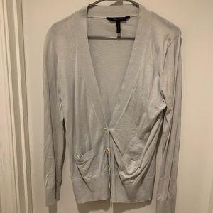 BCBGMaxAzria Silver Silk Blend Cardigan Sweater
